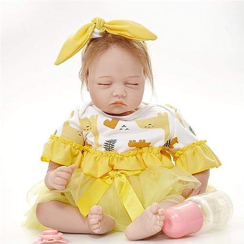 Hongge Reborn Baby Doll,Lebensechte Puppe Baby Silikon Wiedergeburt Weißnachten Geburtstag 55cm