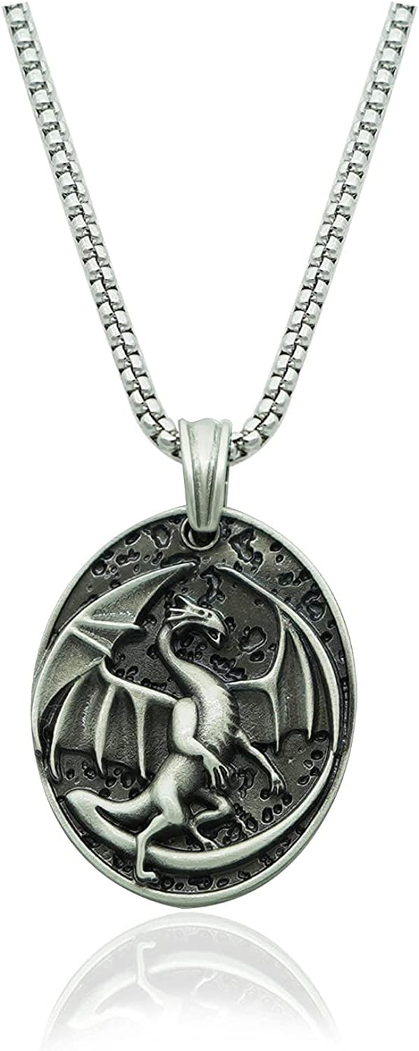 Dragon Necklace for Men, Nordic Viking Dragon Wings Pendant Necklace Dragon Tag Necklace Pure Tin Men's Punk Dragon Charm Necklace Jewelry Gift Father's Day Accessories