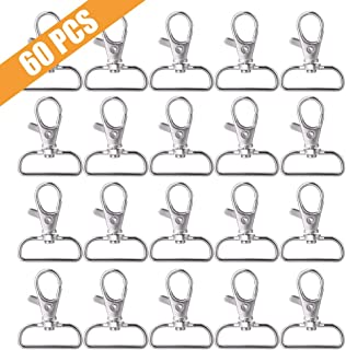 Metal Swivel Clasps Lanyard Snap Hook Lobster Claw Clasp for Jewelry Findings, Key Chain Clip, DIY Crafts. Pack of 60