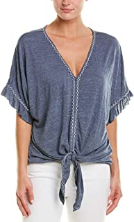 Max Studio Womens Crinkled Jersey Tie Front Top with Emb Detail