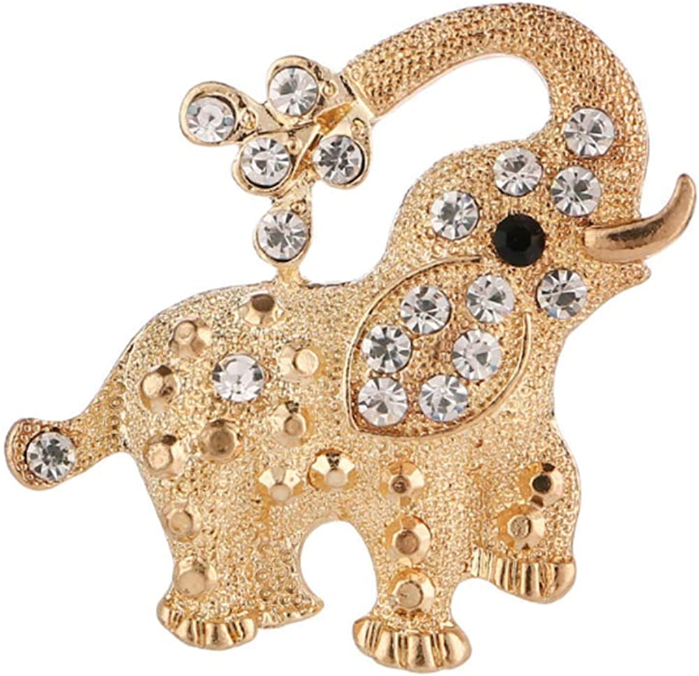 HSQYJ Retro Elephant Brooch Pins Crystal Rhinestone Animal Lapel Pin Fashion Jewelry Suit Brooches Accessories for Women Men Dress
