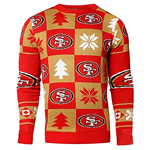 Forever Collectibles NFL Mens 2016 Patches Ugly Crew Neck Sweater, San Francisco 49ers