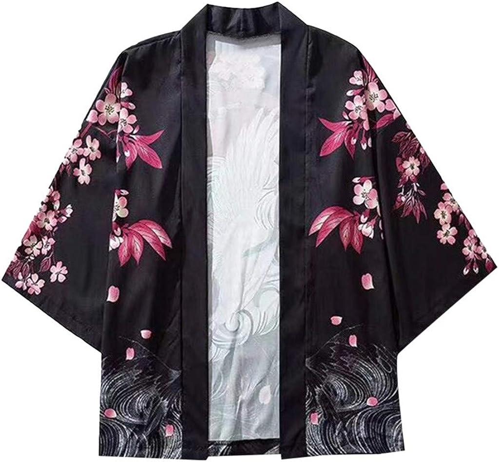 Litetao Men Novelty Shirts Retro Robe Plum Blossom Kimono Cardigan 3/4 Sleeve Loose Open Sunscreen Coat Blouse