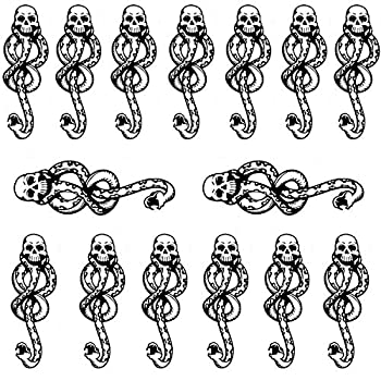 Small Temporary Tattoos Sticker Death Eaters Dark Mark Mamba Skull Fake Tattoo for Halloween Costume Accessories and Parties Boys Girls Body Makeup,15-Sheet