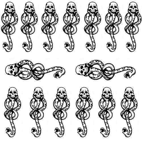 Leoars Small Temporary Tattoos Sticker, Death Eaters Dark Mark Mamba Skull Fake Tattoo for Halloween Costume Accessories and Parties Boys Girls Body Makeup,15-Sheet