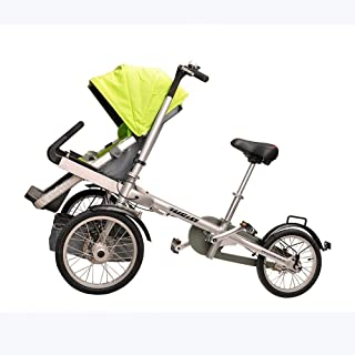 HZC Baby Cart 3 in 1 Foldable Buggy 3-Wheeler, Pushchair with Extra Large Air Wheels, for Children Switchable bicycleWalking, Long Trip for Newborn and Toddler (Color : Yellow)