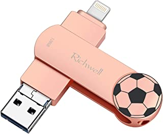 USB Flash Drive 128GB for iPhone Photo Stick iOS Flash Drive 3in1 USB3.0 for iPad Memory Stick External Storage USB Thumb Drive Richwell Compatible iPhone iPad Mac Android and Computer (Pink128G-YT)