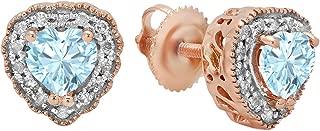 10K 5 MM Each Heart Shaped Gemstone & Round White Diamond Ladies Halo Stud Earrings, Rose Gold