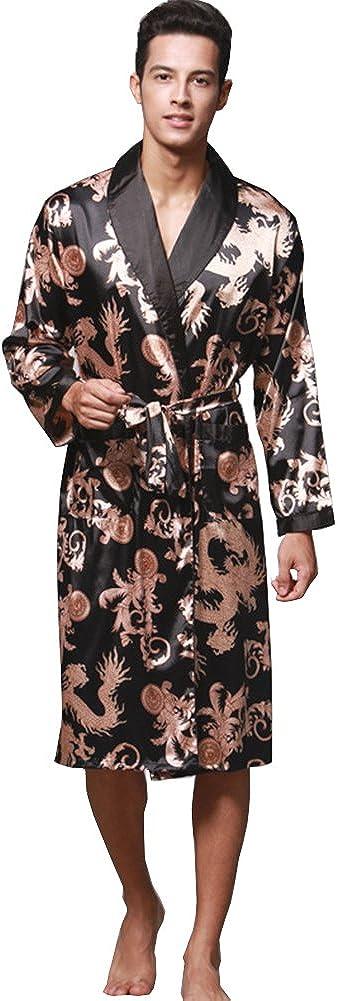 ZUEVI online shop Men's Long Sleeve Satin Limited Special Price Kimono Lightweight Bat Robe Dragon