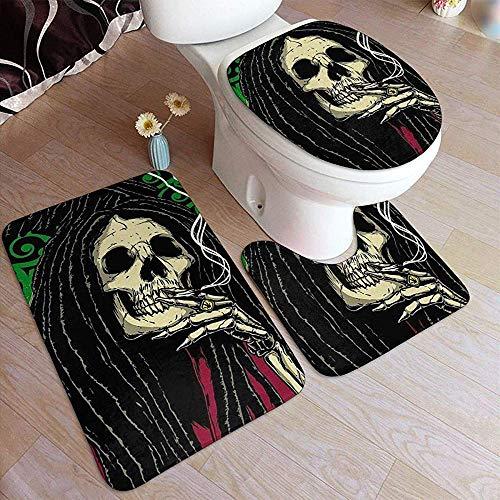 LAURE Bath Mat Kritzeleien Halloween Legend Skull 3 Stück WC Bad Teppiche Set rutschfeste Badezimmer Teppich Abdeckung Contour Matten Deckel Abdeckung für Badezimmer