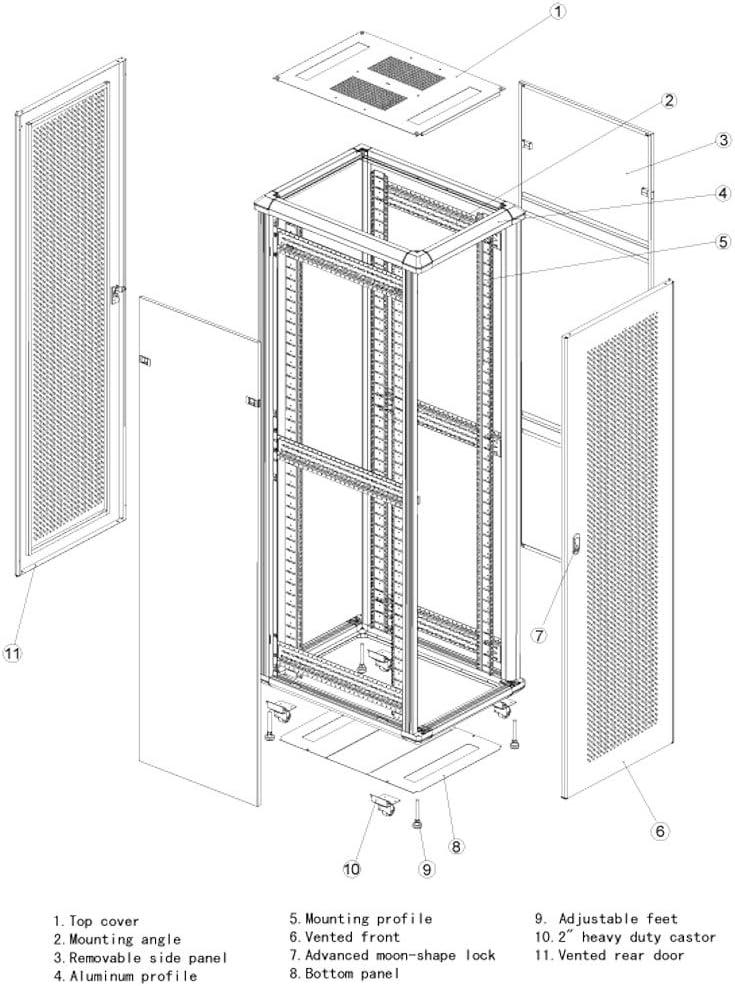 RAISING ELECTRONICS 42U Rack Mount Internet/Network Data Server Cabinet Enlosure 600MM (23.5inch) Deep