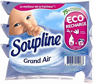 Soupline Concentré Eco Recharge Grand Air par 3 berlingots de 200ml (Lot de 6 Soit 18 berlingots)