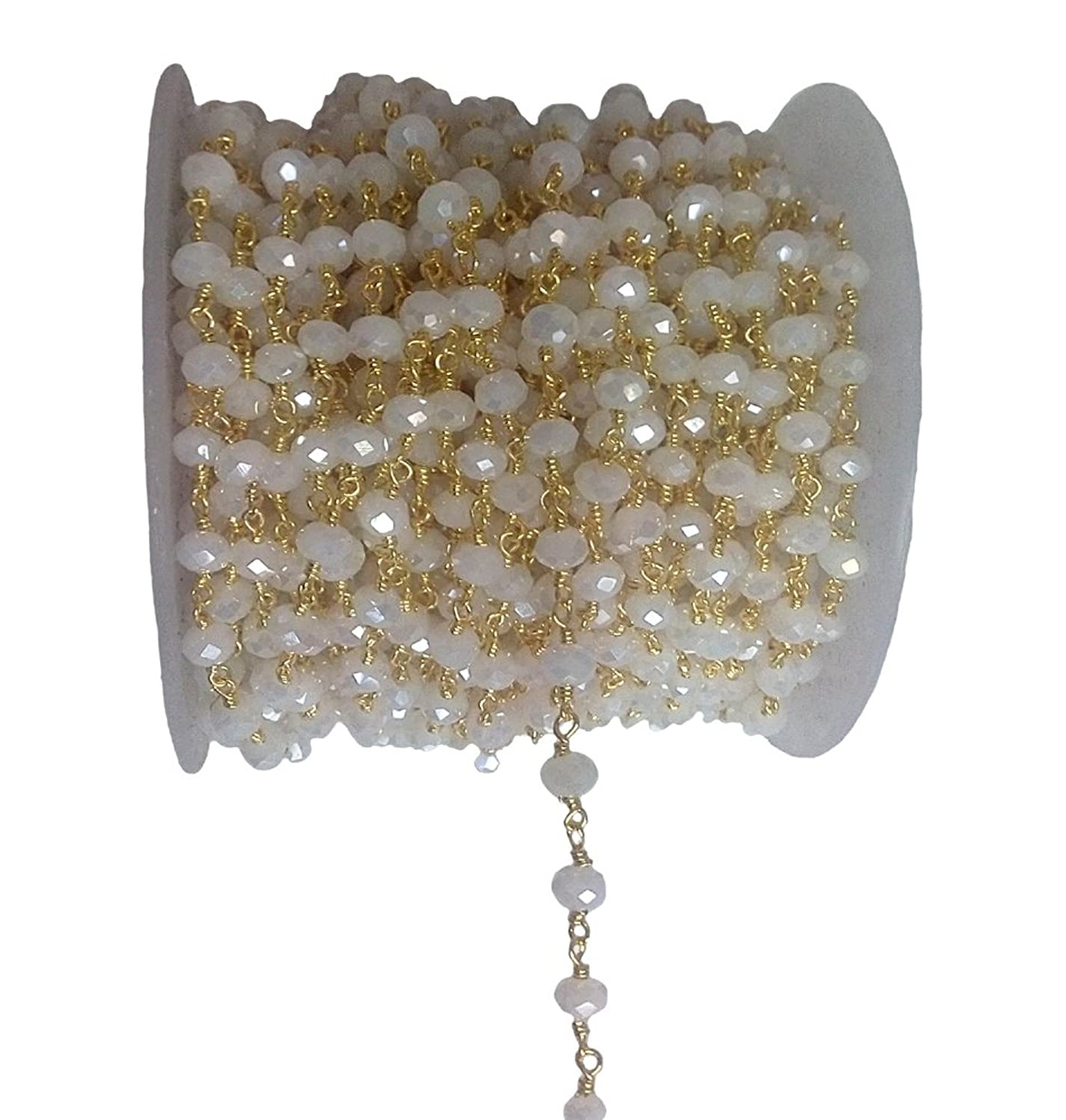 3 feet White Chalcedony Mystic Quartz Bead 6mm 24k Gold Plated Rosary Style Chain by bestinbeads, Hydro Quartz Beaded Chain by The Foot, Jewelry Making Chain