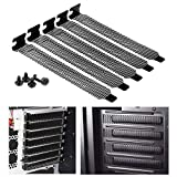 YCDC 5 Pack Black PCI Slot Covers,Hard Steel Dust Filter Blanking Plate,Vented Slot Covers for Computer Cases with 5 Screws