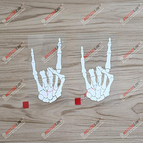 2X White 4'' Skeleton Heavy Metal Rock Decal Sticker Car Laptop Window Vinyl