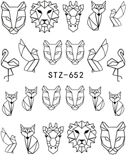 Tralntion Cartoon Animal Line Drawing Nail Stickers DIY Fake Stickers Cartoon Animal Full Nail Tip Decals Beauty Art Tools
