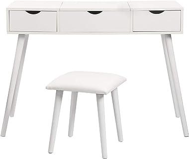 EUGAD 0014SZT Table de Maquillage avec 1 Miroir Rabattable et 2 tiroirs Coiffeuse avec Tabouret Meuble cosmétique pour Chambr