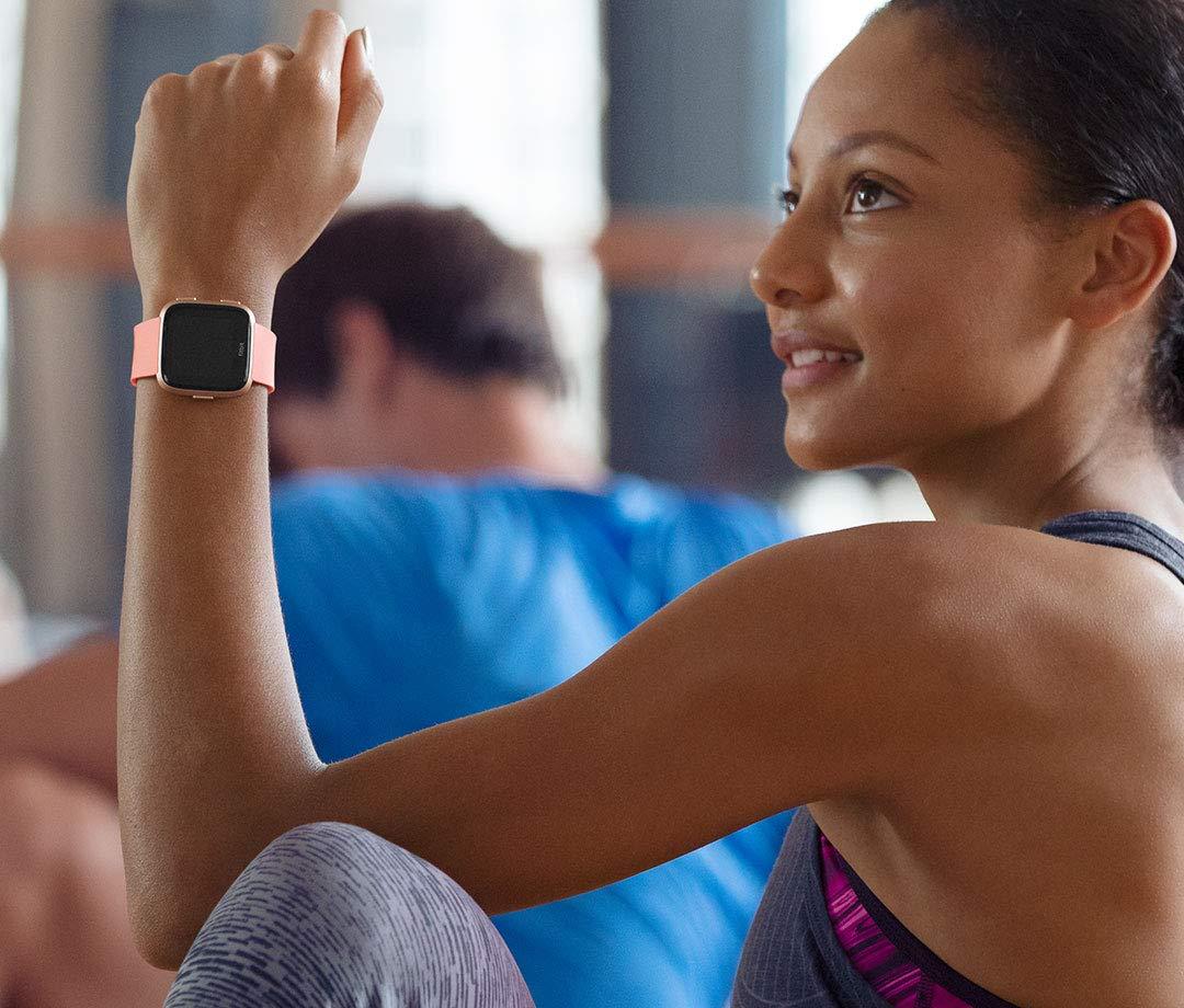 S /& L Bands Incl Peach//Rose Gold Aluminium Fitbit Versa Smart Watch One Size