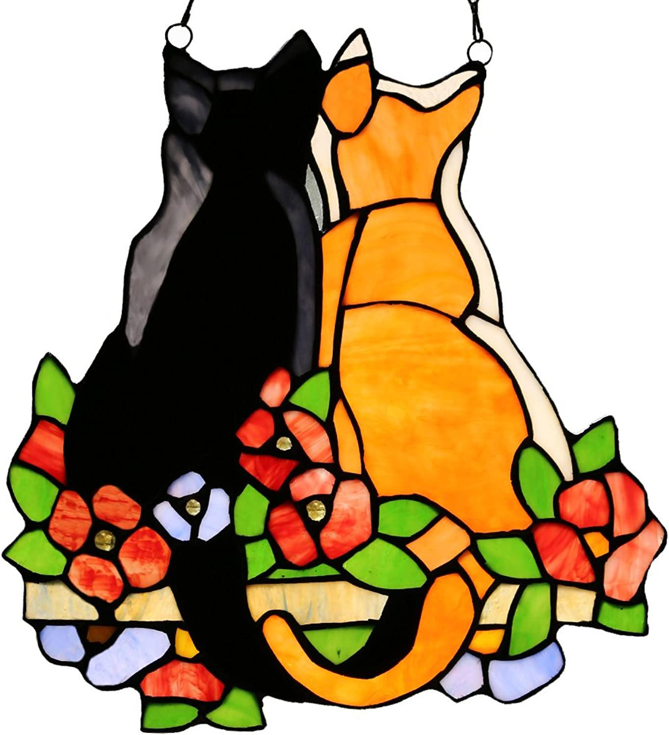 12.5 H Stained Glass Cats in the Garden Window Panel