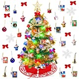 Yodeace Arbol Navidad Pequeño, Mini Arbol de Navidad con Falda Arbol Navidad,Arbol de...
