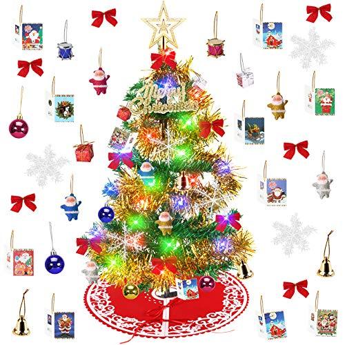 Yodeace Arbol Navidad Pequeño, Mini Arbol de Navidad con Falda Arbol Navidad,Arbol de Navidad Pequeño(59cm)