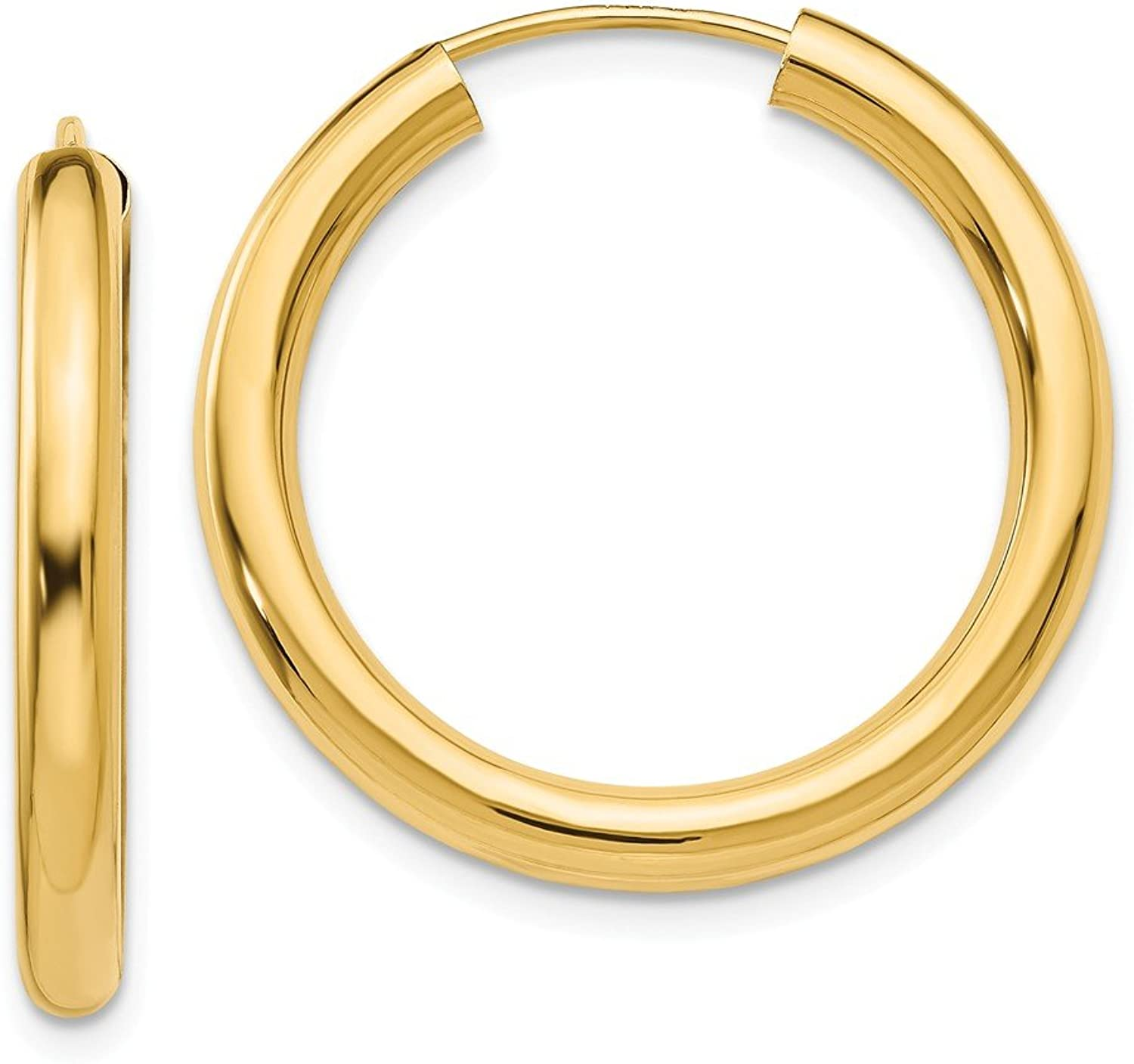 Beautiful Yellow gold 14K Yellowgold 14k Polished Endless Tube Hoop Earrings