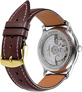 Watch Band 16mm 18mm 19mm 20mm 21mm 22mm 24mm Quick Release Replacement Leather Watch Straps AISHIRUI Genuine Italian Calf Leather Bracelet with Buckle Black Brown Coffee Silver Rose Gold