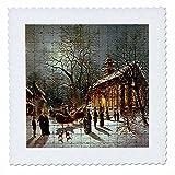 3dRose QS 60438_ 1Kirche, Schnee, Pferd Ziehen,