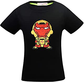 Superhero Shirts for Boys Girls Flash Flip Sequin T-Shir Tee Tops 4-14 Years Old Black