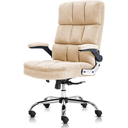KERMS Velvet Office Chair Adjustable Tilt Angle and Flip-up Arms Executive Computer Desk Chair, Thick Padding for Comfort and Ergonomic Design for Lumbar Support (Beige)