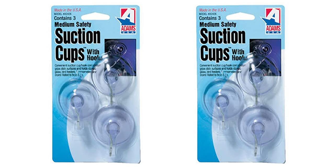 Adams Manufacturing 6500-74-3040 1-3/4-Inch Suction Cup Hook, Medium, 3Pc 2pack