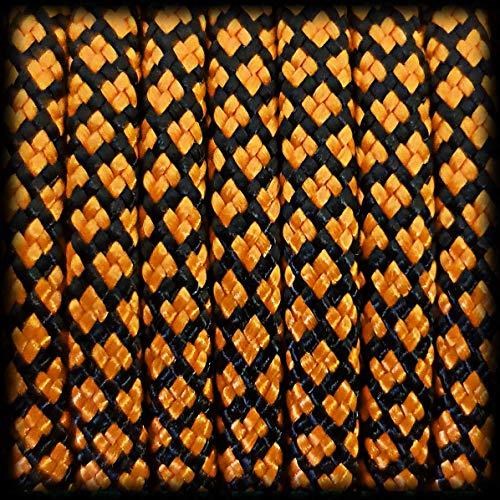 Paracorde 550 Corde Diamond pour bracelet, laisse, collier en polyester 30 mètres, couleur : orange-noir