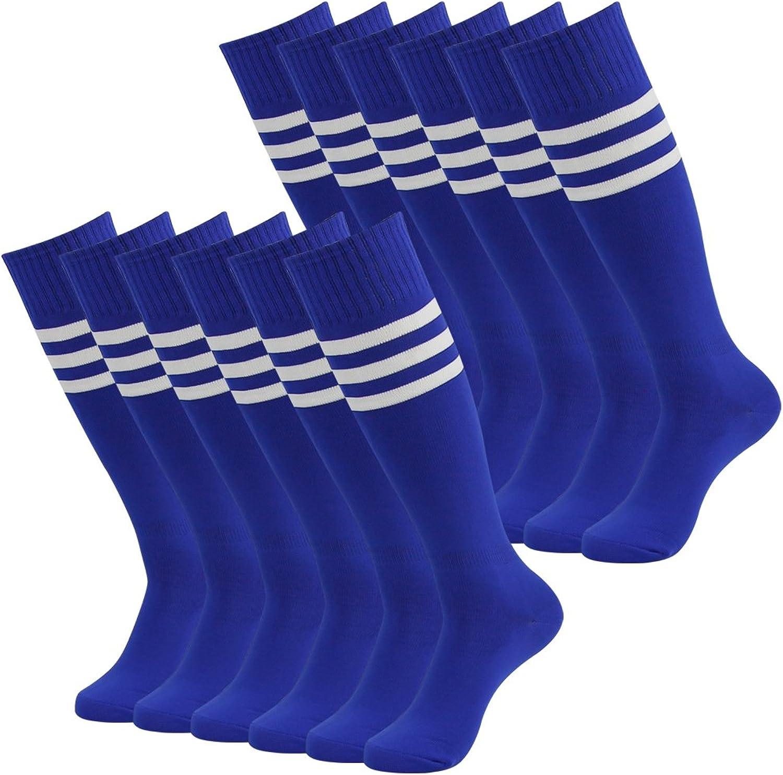 Tube Socks Soccer, Diwollsam Unisex Knee High Solid Team Uniform Football Volleyball Cheerleading Socks(2 6 8 Pairs)