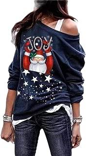 Macondoo Womens Basic Oblique Shoulder Plus Size Print Santa Pullover Sweatshirts