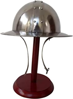 Medieval Kettle Hat Helmet Reenactment LARP Role Play Infantry Spanish Helmet with Wooden Stand Halloween Costume Gift Silver