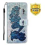 Boloker Kompatibel mit Huawei Honor Play 8A Hülle + Panzerglas Schutzfolie, Glitzer Flip Wallet Case mit Kartenhalter & Magnetverschluss Premium PU Leder Hülle Handyhülle (Seepferdchen)