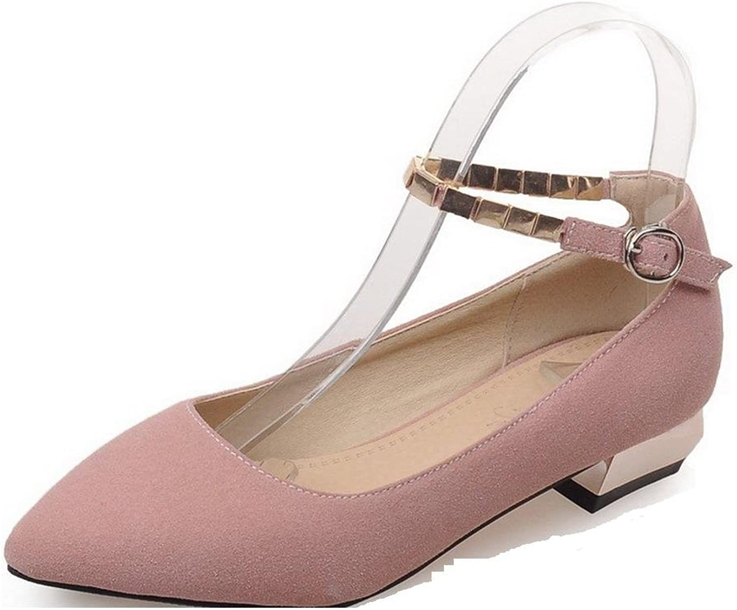 WeenFashion Women's Buckle Low-Heels Imitated Suede Solid Pointed Closed Toe Pumps-shoes