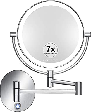 Makeup Mirror Wall Mounted, Rechargeable 1X/7X Magnifying Vanity Mirror with Lights, Dimmable Brushed Nickel Finish Two-Sided