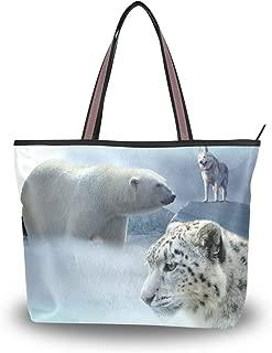 WIHVE Polar Bear Snow Leopard Wolf Ice Mountain Women's Tote Bag Top Handle Satchel Handbags Shoulder Bags