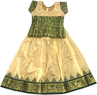 Pattu Pavadai Pure Silk Pavada Sattai Set Sandal and Green for Baby Girls and Kids - 7 Years
