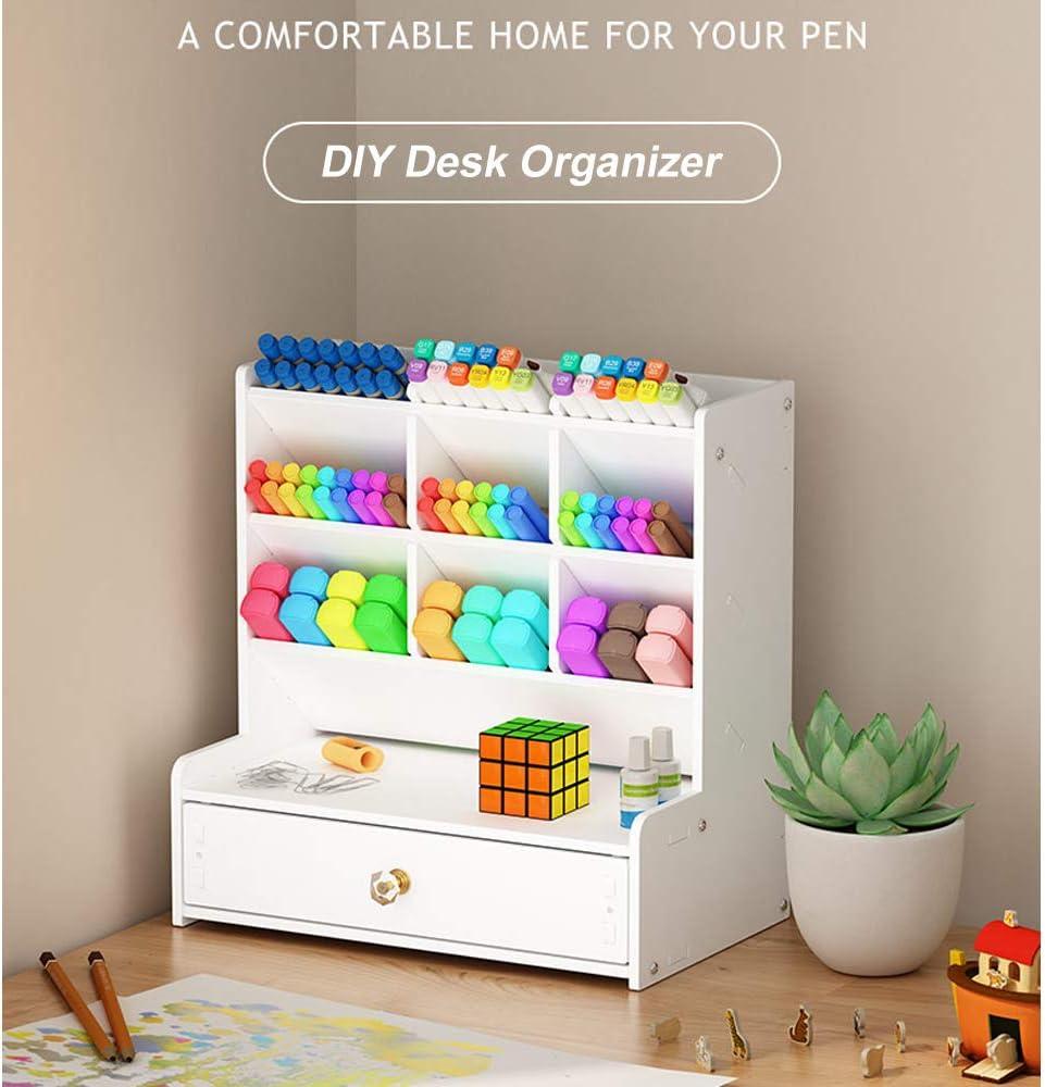 caja de soporte para bol/ígrafo gran capacidad B02 estante de almacenamiento de escritorio para escuela Organizador de escritorio blanco casa o oficina
