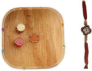 DEVIKA Rakhi Platter:Rakhi for Brother Platter!Send with Love,Cute Rakhi Platter with Rakhi Kumkum & Chokka(Rice) (RP1)