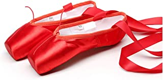 Ballet Dance Pointe Toe Silk Ribbon Shoes Toe Pad Girls Red Professional Ballet Shoe for Ballet