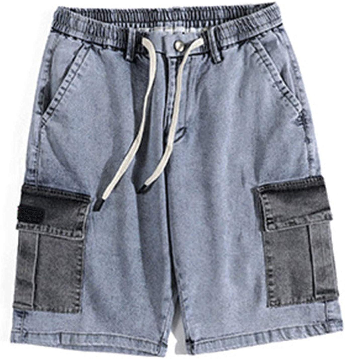Yeokou Men's Casual Loose Denim Cargo Drawstring Jeans Bermuda Shorts Capri Pants