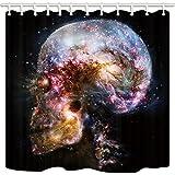NYMB Interstellar Shower Curtain, Science Fiction Universe Skull Galaxy, Polyester Fabric Nebula Bath Curtain, Bathroom Shower Curtain Set with Hooks, 69X70in, Bathroom Accessories