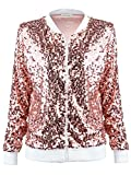 Anna-Kaci Womens Sequin Long Sleeve Front Zip Jacket with Ribbed Cuffs, Rose Gold, Large by