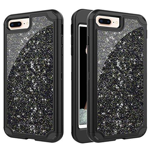Capa para iPhone 8 Plus, capa para iPhone 7 Plus, ZERMU 3 em 1, luxuosa, brilhante, brilhante, design estiloso, capa rígida, emborrachada, híbrida, para-choque, capa frontal para iPhone 8 Plus/7 Plus 5,5 polegadas
