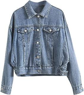 Rosatro Women Denim Jackets Womens Casual Retro Cowboy Pockets Jean Jacket Turn-Down Regular Collar Full Sleeve Coat Jacket