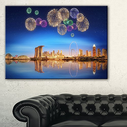 Design Art Singapore Skyline Photographic Print on Wrapped Canvas