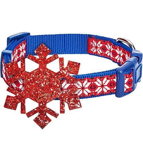 Blueberry Pet 4 Patterns Christmas Zigzag Chevron Adjustable Dog Collar with Holly Décor, Medium, Neck 14.5'-20'